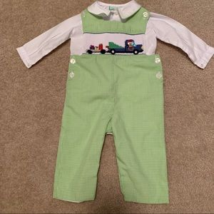 Little threads 9m boys smocked Christmas outfit
